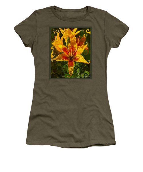 Women's T-Shirt featuring the painting Golden Beauties by Omaste Witkowski
