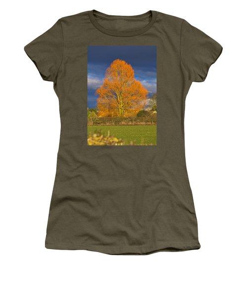 Women's T-Shirt featuring the photograph Golden Glow - Sunlit Tree by Paul Gulliver