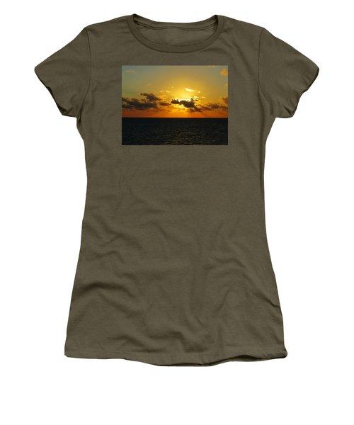 Women's T-Shirt (Junior Cut) featuring the photograph Golden Rays Sunset by Jennifer Wheatley Wolf
