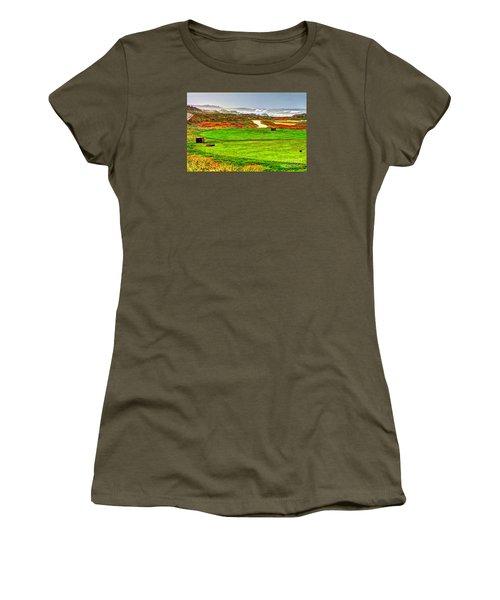 Golf Tee At Spyglass Hill Women's T-Shirt (Junior Cut) by Jim Carrell