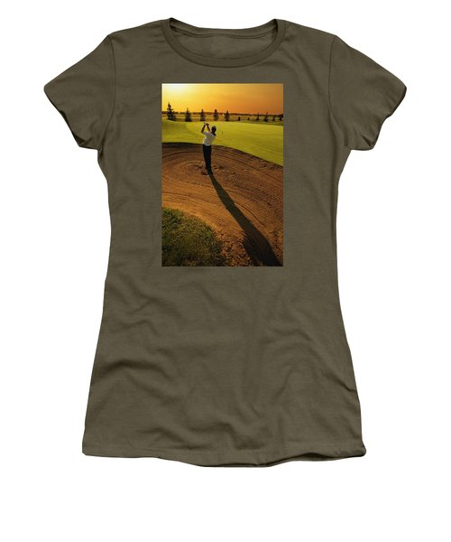 Golfer Taking A Swing From A Golf Bunker Women's T-Shirt (Junior Cut) by Darren Greenwood