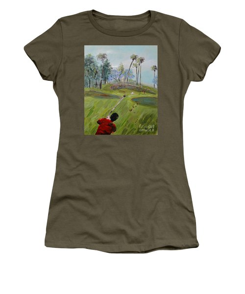 Women's T-Shirt featuring the painting Golfing At Monarch by Maria Langgle