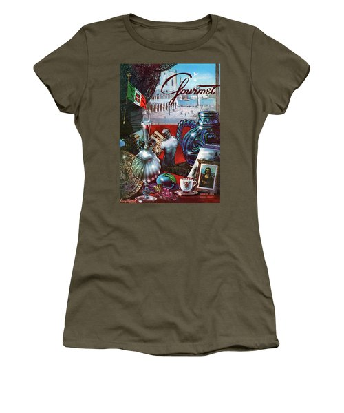 Gourmet Cover Featuring A Variety Of Italian Women's T-Shirt