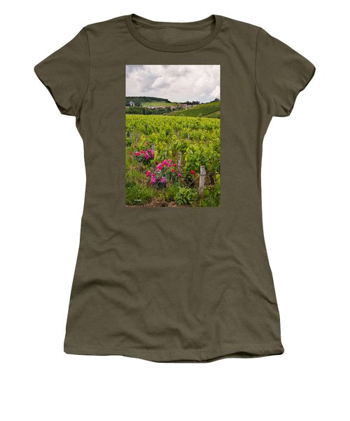 Women's T-Shirt (Junior Cut) featuring the photograph Grapes And Roses by Allen Sheffield
