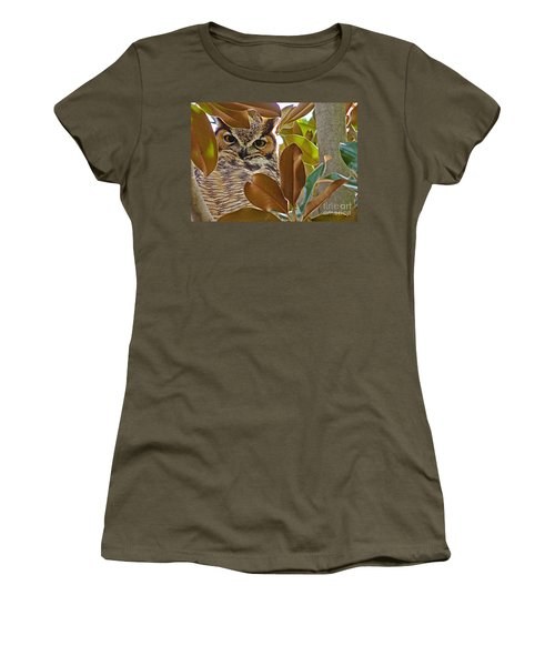 Women's T-Shirt (Junior Cut) featuring the photograph Great Horned Owl by Meghan at FireBonnet Art