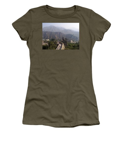 Great Wall Of China At Badaling Women's T-Shirt (Junior Cut) by Debbie Oppermann