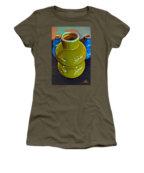 Women's T-Shirt (Athletic Fit) featuring the painting Green  Blue Vases by Joan Reese