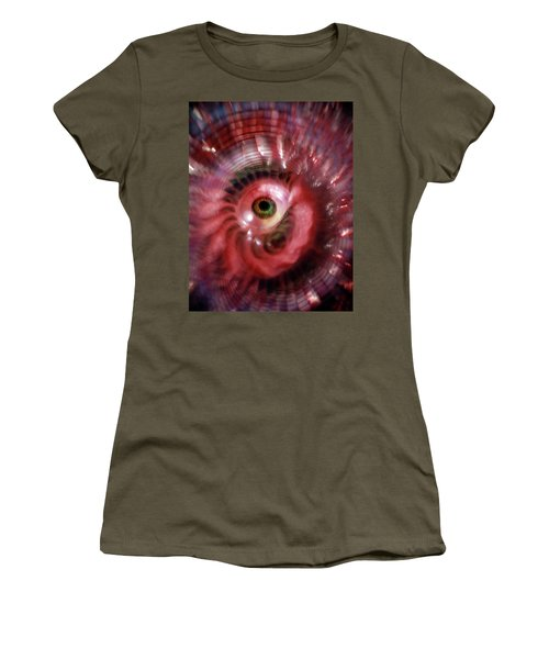 Green Eyeball Red Whirl Psychedelic Women's T-Shirt