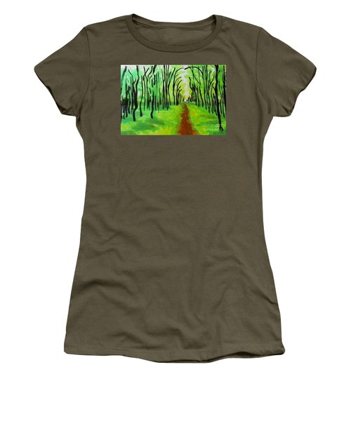 Women's T-Shirt (Junior Cut) featuring the painting Green Leaves by Marisela Mungia