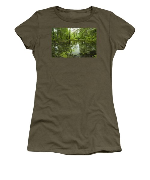 Women's T-Shirt (Junior Cut) featuring the photograph Green Blossoms On Pond by Jerry Cowart