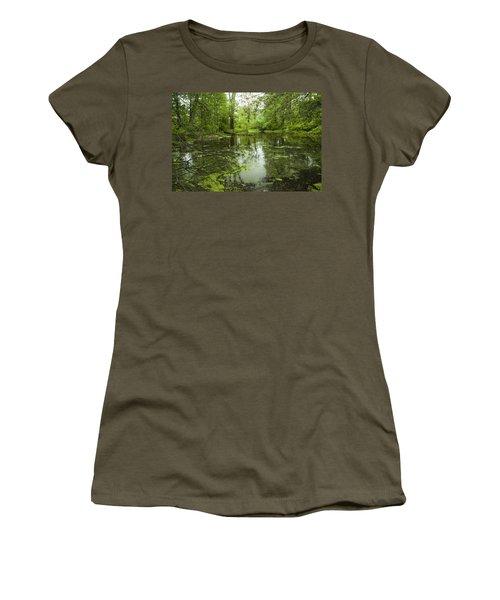 Green Blossoms On Pond Women's T-Shirt (Junior Cut) by Jerry Cowart
