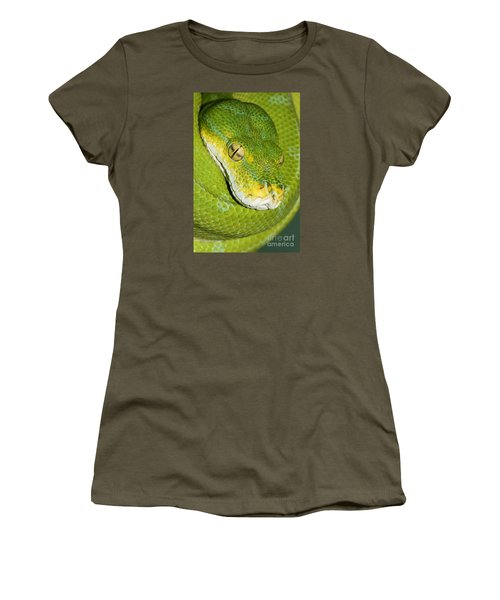Women's T-Shirt (Junior Cut) featuring the photograph Green Tree Python #2 by Judy Whitton