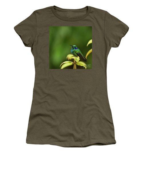 Green Violetear Hummingbird Women's T-Shirt (Junior Cut) by Heiko Koehrer-Wagner