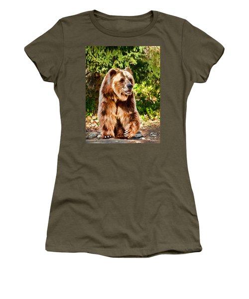 Grizzly Bear - Painterly Women's T-Shirt (Junior Cut) by Les Palenik