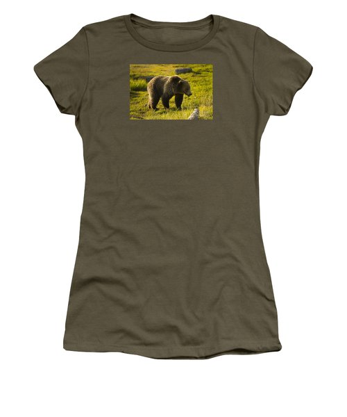 Grizzly Bear-signed-#4477 Women's T-Shirt (Junior Cut) by J L Woody Wooden
