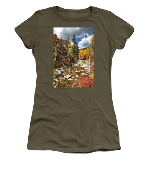 Women's T-Shirt (Junior Cut) featuring the photograph Grizzly Creek Cottonwoods Vertical by Jeremy Rhoades