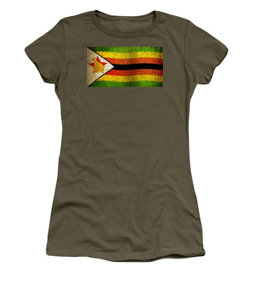 Grunge Zimbabwe Flag Women's T-Shirt (Athletic Fit)