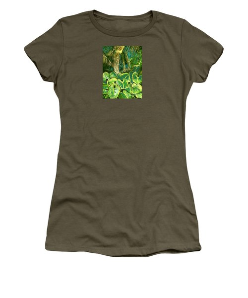 Women's T-Shirt (Junior Cut) featuring the painting Guanabana Tropical by Jean Pacheco Ravinski