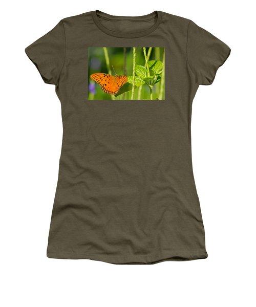 Women's T-Shirt (Junior Cut) featuring the photograph Gulf Fritillary by Jane Luxton