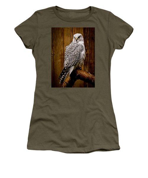 Gyrfalcon Perched Women's T-Shirt (Junior Cut) by Steve McKinzie