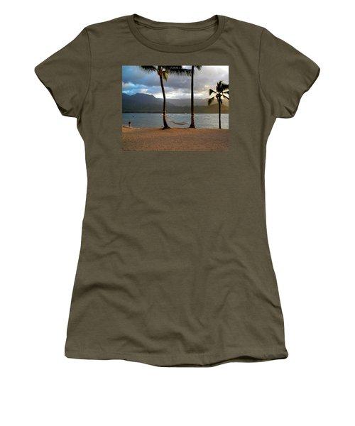 Hammock At Hanalei Bay Women's T-Shirt (Junior Cut) by James Eddy