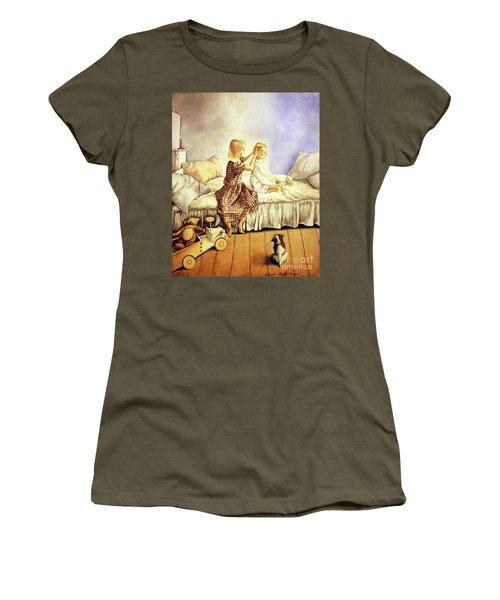 Hands Of Devotion - Childhood Women's T-Shirt (Junior Cut) by Linda Simon