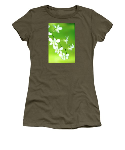 Women's T-Shirt (Junior Cut) featuring the photograph Hanging White Orchids by Lehua Pekelo-Stearns