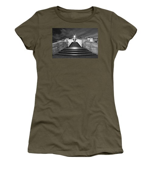 Women's T-Shirt featuring the photograph Ha'penny Bridge Steps At Night - Dublin - Black And White by Barry O Carroll