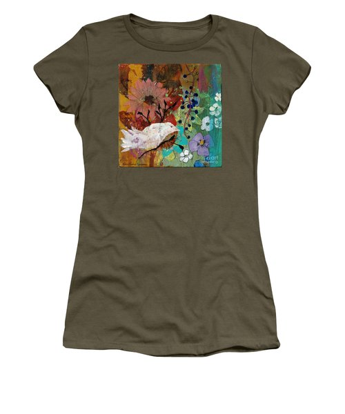 Women's T-Shirt (Junior Cut) featuring the painting Happiness by Robin Maria Pedrero