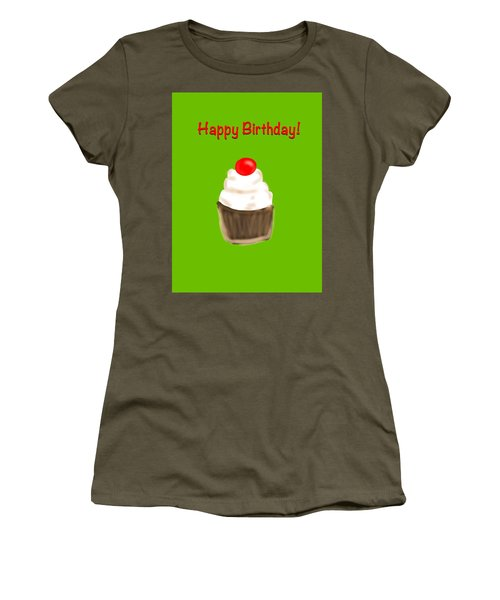 Women's T-Shirt (Junior Cut) featuring the digital art Happy Bday W A Cherry On Top by Christine Fournier
