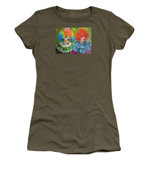Women's T-Shirt (Junior Cut) featuring the painting Gemini Clowns by Jieming Wang