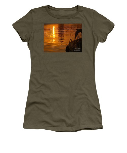 Women's T-Shirt (Junior Cut) featuring the photograph Harbour Sunset by Clare Bevan