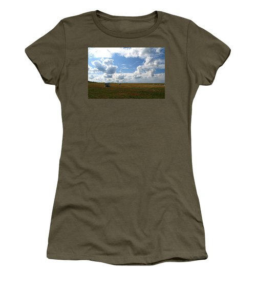 Women's T-Shirt (Junior Cut) featuring the photograph Harvest Blue  by Neal Eslinger