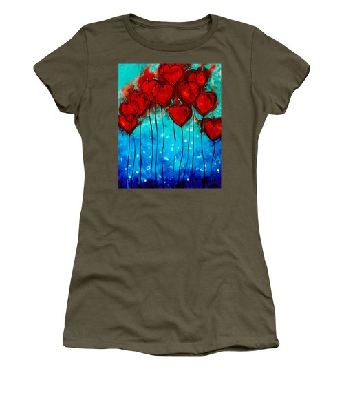 Hearts On Fire - Romantic Art By Sharon Cummings Women's T-Shirt