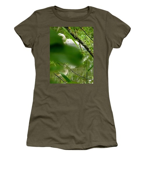 Hidden Bird White Women's T-Shirt (Junior Cut) by Susan Garren