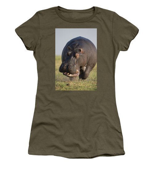 Women's T-Shirt featuring the photograph Hippopotamus Bull Charging Botswana by Vincent Grafhorst