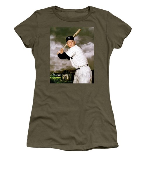 American Fabric   Mickey Mantle Women's T-Shirt (Junior Cut) by Iconic Images Art Gallery David Pucciarelli