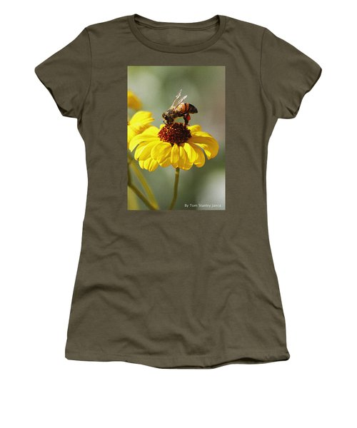 Honey Bee And Brittle Bush Flower Women's T-Shirt (Athletic Fit)