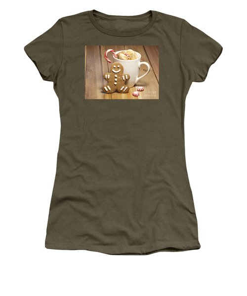 Hot Chocolate Toasted Marshmallows And A Gingerbread Cookie Women's T-Shirt