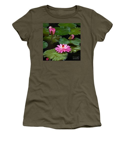 Hot Pink And Green Tropical Waterlilies Women's T-Shirt