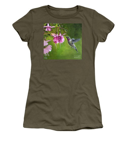 Hummingbird And Fuschia Women's T-Shirt (Athletic Fit)
