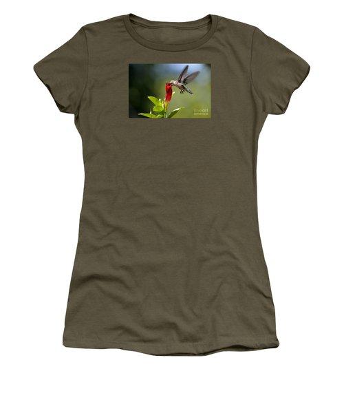 Hummingbird Dipping Women's T-Shirt (Junior Cut) by Debbie Green