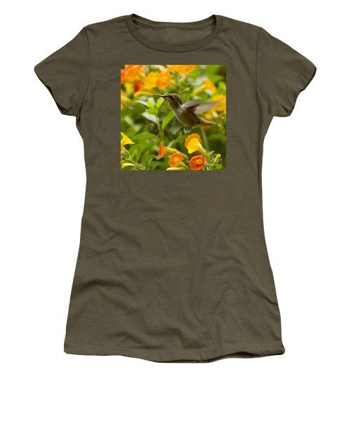 Hummingbird Looking For Food Women's T-Shirt (Junior Cut) by Heiko Koehrer-Wagner