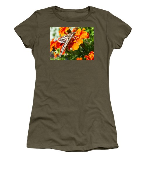 Hummingbird Moth On A Marigold Flower Women's T-Shirt (Athletic Fit)