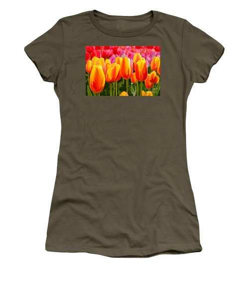 Women's T-Shirt (Junior Cut) featuring the painting Hybrid Tulips by Tim Gilliland