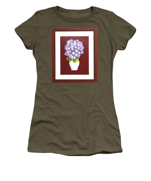 Women's T-Shirt (Junior Cut) featuring the painting Hydrangea by Ron Davidson