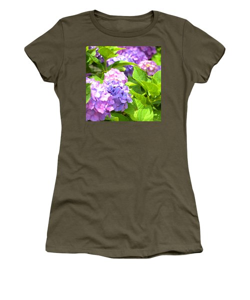 Women's T-Shirt (Junior Cut) featuring the photograph Hydrangeas In The Sun by Rachel Mirror