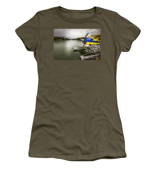 Idle Float Plane At Juneau Airport Women's T-Shirt (Junior Cut) by Darcy Michaelchuk