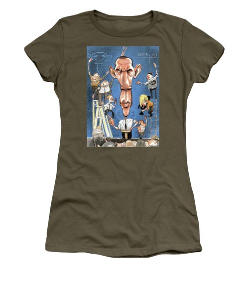 Illustration Of Obama Giving A Speech Women's T-Shirt