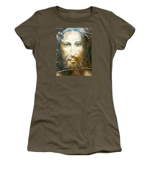 Women's T-Shirt (Junior Cut) featuring the painting Image Of Christ by Henryk Gorecki